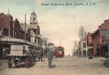 Cowper St Bondi Jn looking south c 1910. The horse drawn waggon is carrying building supplies.