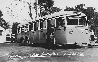 No 2078 First Trolleybus Sydney 22 January 1934