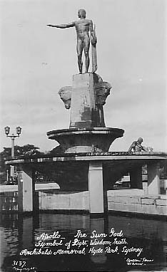 No 3137 Apollo statue Archibald Memorial in Hyde Park c 1932 ?