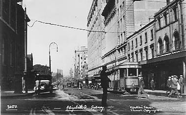 No 3050 Elizabeth St Sydney (showing a P class tram heading to Circular Quay).
