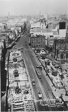 No 3090 George St Sydney (at town Hall looking south showing underground railway construction)