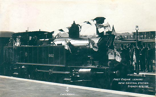 First Locomotive at new station 4th August 1906. Anchor series.