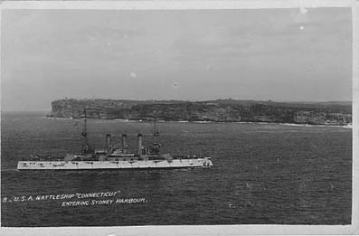 US battleship Connecticut enters Harbour in 1908. South Head in background