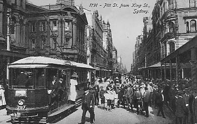 Pitt St at King St crowded trams en route to Railway. c1910