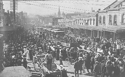 Broadway near City Rd Intersection Sydney University Commemoration Day c1906